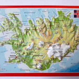 Póstkort Ísland upphleypt